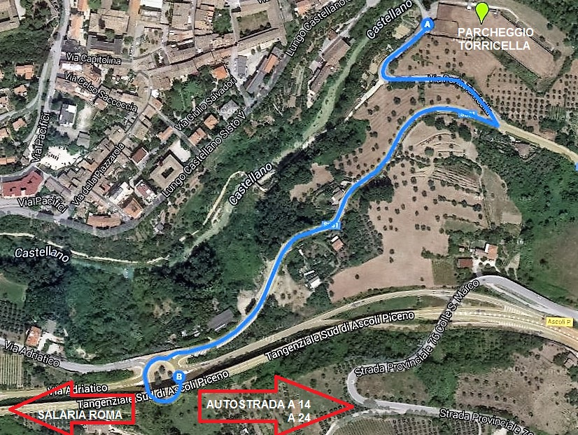 Percorso dal Parcheggio Torricella alla Tangenziale sud di Ascoli Piceno.