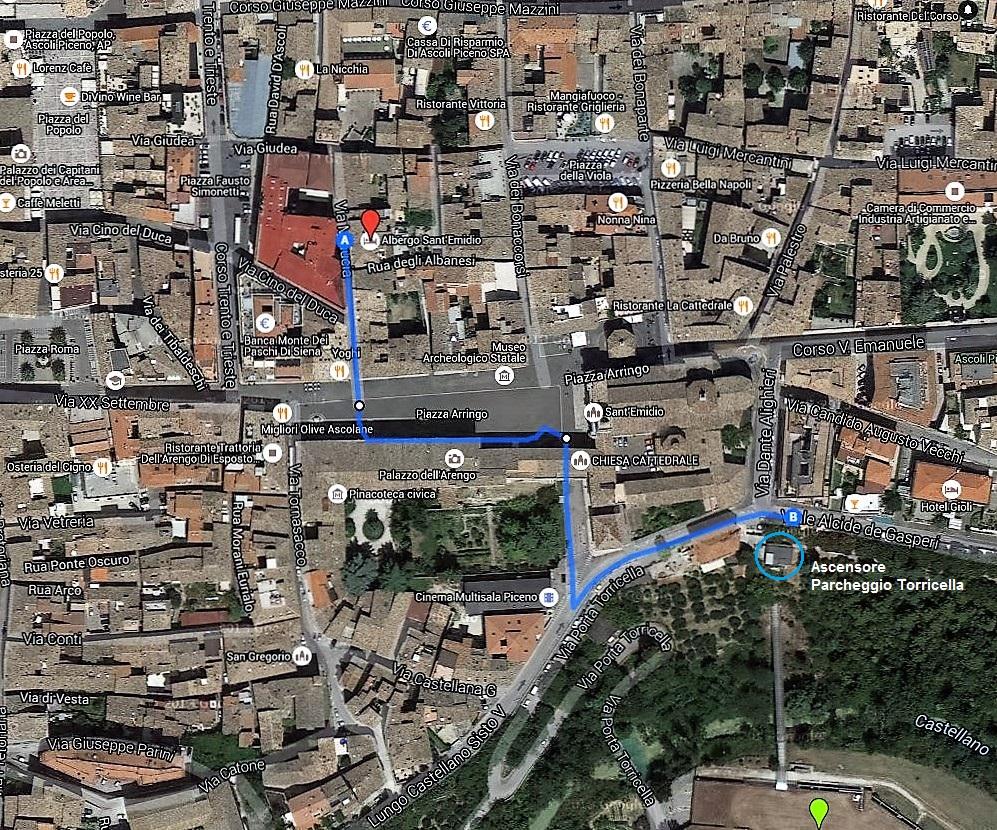 Percorso pedonale dal parcheggio Torricella all'Hotel Sant'Emidio